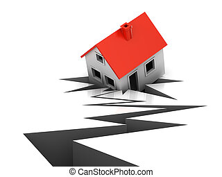 The house has failed in a crack during earthquake