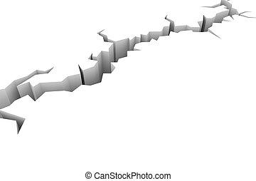 earthquake., tierra, suelo, white., grieta