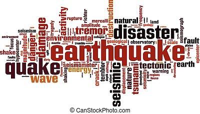 Earthquake word cloud concept. Vector illustration