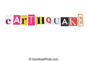 earthquake written letters daily on white background