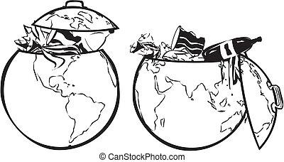 earth`s, 黑色, 白色, -, dumpster