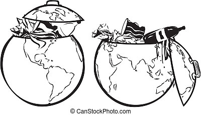 earth`s dumpster - black and white - land contamination,...