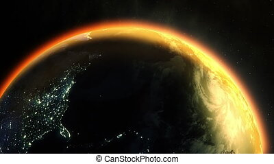 A computer generated but cinematic view of the Earth revolving in outer space, with the planet's atmosphere warmed by the glow of the sun.