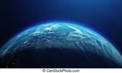 Looping planet earth rotation. Planet earth with atmosphere and stars twinkle Stars Planet Earth, Outer Space, Planet - Space, World Map, World Map, Outer Space, City.