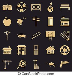 Earthwork icons set, simple style - Earthwork icons set....