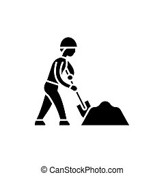 Earthworks black icon, vector sign on isolated background....
