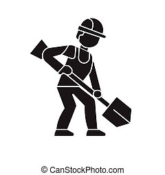 Earthworks, builder with showel black vector concept icon....