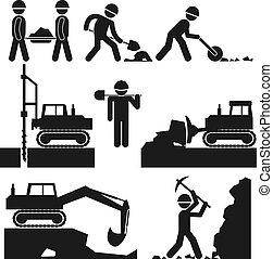 earthworks, construcción, negro, colección, iconos