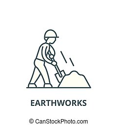 Earthworks line icon, vector. Earthworks outline sign,...