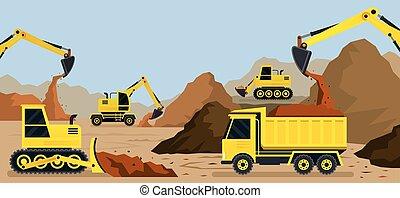 earthworks, pedreira, construção, fundo