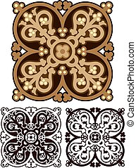 classic mandala design in earth tones, with variations