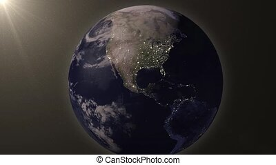 Earthzooms in on North America - Earth animation zooms in on...