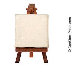 a customizable blank canvas on a wooden tripod