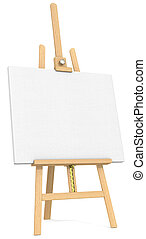 Easel and Canvas.  - Side view of an Easel and Canvas.