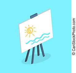 Easel on Four Legs with White Canvas Vector