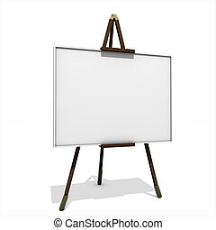 3D rendering, easel with blank canvas on white background
