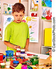 easel., peinture, enfant
