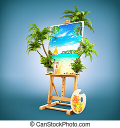 Easel with a beautiful picture of tropical landscape and real palms. Unusual travel illustration