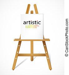 Easel with blank canvas - Editable vector design
