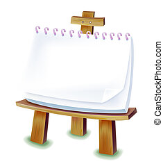 Easel with blank paper isolated on the white background