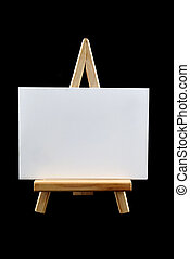 Easel With Board - Wooden easel with blank white board on...