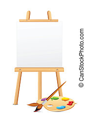 Easel with Color Palette - illustration of easel with color...