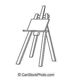 Easel with masterpiece icon in outline style isolated on white background. Artist and drawing symbol stock bitmap, rastr illustration.