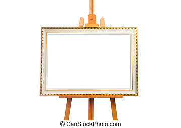 easel with painting frame, isolated on white