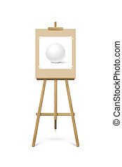 Easel with picture. Vector realistic design element.