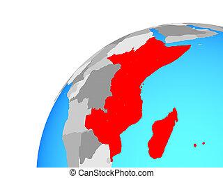 East Africa on globe