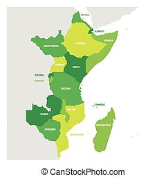East Africa Region. Map of countries in eastern Africa. Vector illustration