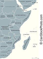 East Africa region political map - East Africa region,...
