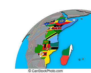 East Africa with flags on 3D globe