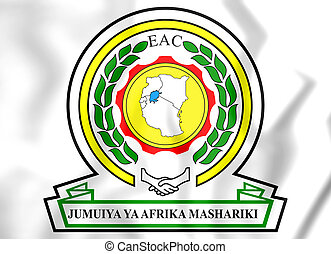 East African Community coat of arms. 3D Illustration.