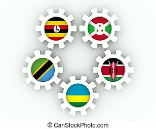 East African Community, EAC association of five national economies members flags on gear. Global teamwork. White background. 3D rendering