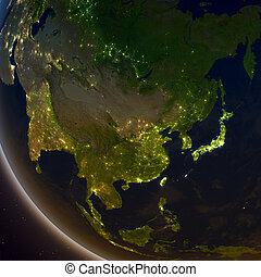 East Asia at night from Earth's orbit in space. 3D illustration with detailed planet surface and city lights. Elements of this image furnished by NASA.