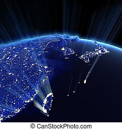 East Asia city lights
