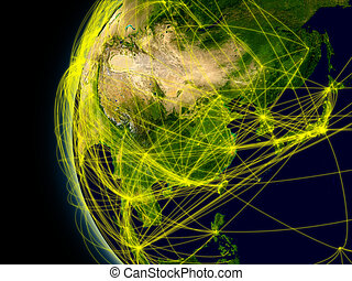 East Asia viewed from space with connections representing main air traffic routes. Elements of this image furnished by NASA.