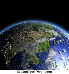 East Asia lit by morning light as seen from Earth's orbit in space. 3D illustration with detailed planet surface. Elements of this image furnished by NASA.