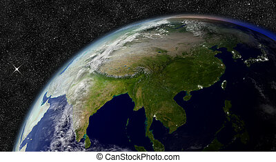 East Asia from space. Elements of this image furnished by NASA.
