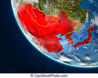 East Asia from space on Earth