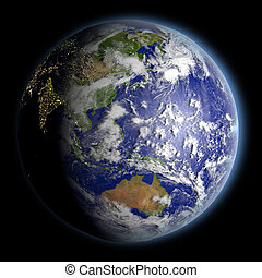 Planet Earth facing East Asia illuminated by morning sunlight. 3D illustration with detailed planet surface. Elements of this image furnished by NASA.