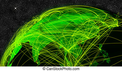 Network over East Asia. Information technology concept. Elements of this image furnished by NASA.