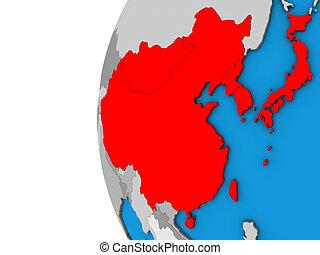East Asia on 3D globe