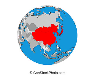 East Asia on 3D globe isolated