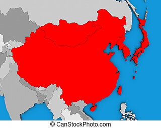 East Asia on 3D map