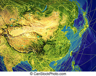 East Asia from space on Earth with country borders and lines representing international communication, travel, connections. 3D illustration. Elements of this image furnished by NASA.