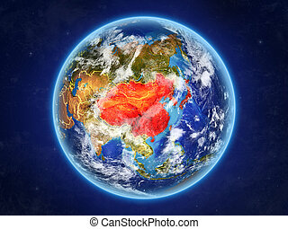 East Asia on Earth from space