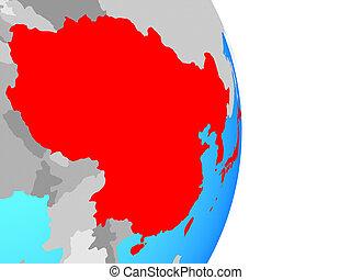 East Asia on globe