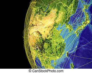 East Asia on globe from space